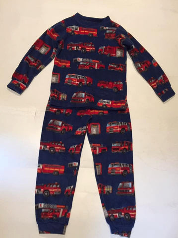 ZooFleece Kids Comfortable Boys Blue Fire Trucks Fleece Red PJ's  Pajamas Gift Birthday Children Toddler