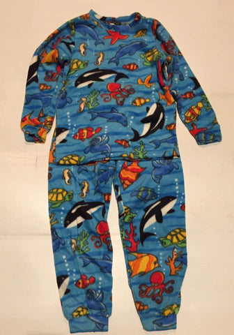 Kids Blue Fish Fleece PJ's Winter Warm Pajamas Gift Birthday Children Toddler Unisex