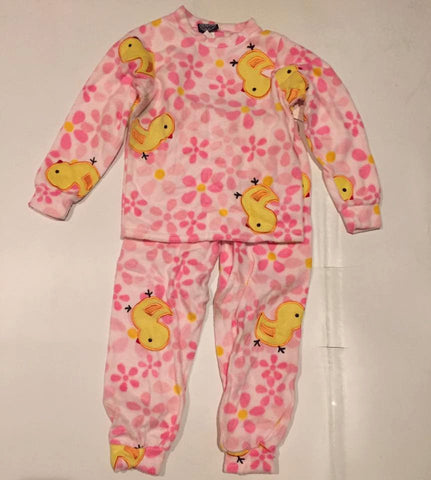 ZooFleece Kids Plush Comfortable Girls Pink Yellow Duck Fleece PJ's Winter Warm Pajamas Best Friend Gift Birthday Children Toddler