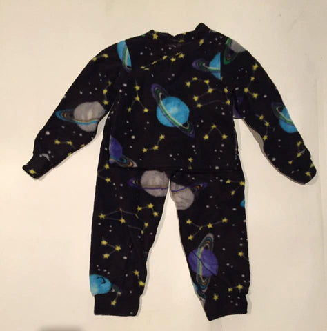 ZooFleece Baby Boys Space Fleece PJ's Winter Black Warm Pajamas Gift Birthday Children Toddler