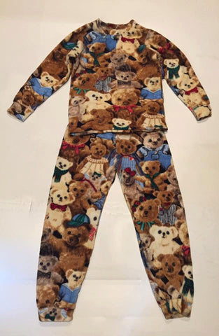 ZooFleece Kids Unisex Brown Teddy Bears Fleece PJ's Pajamas Gift Birthday Children Toddler Baby