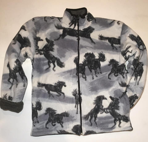ZooFleece Gray Fleece Black Horses Jacket Equestrian Gift Ugly Sweater Funny Sweater Christmas xmas
