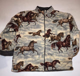 ZooFleece Reversible Fleece Brown Horses Jacket Winter Warm Equestrian Best Friend Gift Birthday Ugly Sweater Funny Sweater Christmas xmas