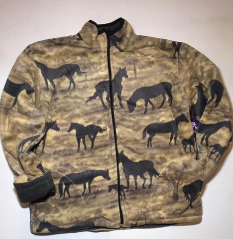 ZooFleece Reversible Fleece Gray Horses Jacket Winter Warm Equestrian Best Friend Gift Birthday Ugly Sweater Funny Sweater Christmas xmas
