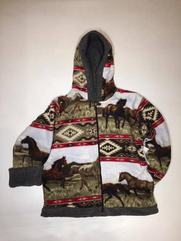 ZooFleece Kids Reversible HeavyWeight Hooded Comfortable Red Aztec Horses Fleece Children Baby Jacket Winter Gift Birthday Toddler