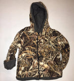 ZooFleece Kids Reversible HeavyWeight Hoodie Brown Shadow Grass Camouflage Fleece Children Camo Baby Jacket Winter Gift Birthday Toddler