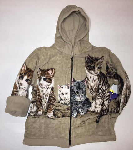 ZooFleece Kids Reversible HeavyWeight Hooded Beige Cats Kittens Fleece Children Baby Jacket Winter Best Friend Gift Birthday Toddler