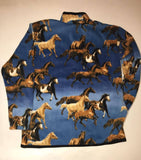 ZooFleece Carousel Horse Blue Fleece Sweater Rustic Animal Crossing Horse Tack Rocking Horse Wall Art Needle Felted Animal