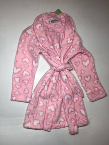 ZooFleece Kids Pink Hearts Girl's Fleece Robe Baby Winter Warm Gift Children