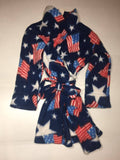 ZooFleece Kids Blue American Flag Fleece Robe Baby Winter Warm Gift Children USA