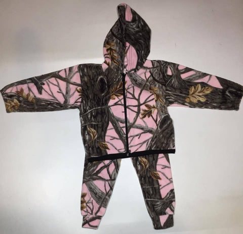 Kids Pink Tree Camo Fleece PJ's Pajamas 2 Piece Set Gift Birthday Children Hoodie Pants