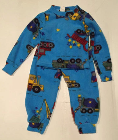 ZooFleece Kids Plush Comfortable Blue Boys Trucks Fleece PJ's Winter Warm Pajamas Best Friend Gift Birthday Children Toddler