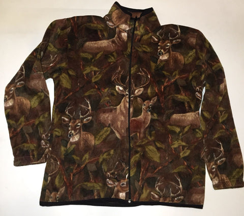 ZooFleece Men's Women's Brown Deer Buck Winter Fleece Hunting Hunt Jacket Ugly Sweater Funny Sweater Christmas xmas