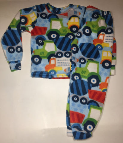 ZooFleece Kids Blue Boys Monster Trucks Fleece PJ's Winter Warm Pajamas Best Friend Gift Birthday Children Toddler