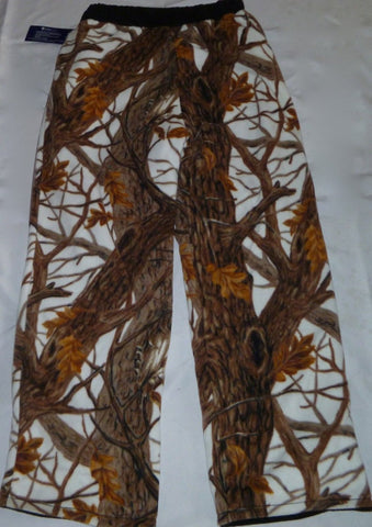 ZooFleece Super Comfortable Brown White Snow Tree Camouflage Fleece Pants Sweats Gift