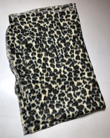"ZooFleece Animal Print Leopard Brown Fleece 42X60"" Blanket Quilt Throw Linen Best Friend Gift Birthday"