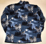 ZooFleece Blue Wolf Moon Polar Fleece Jacket Winter Howling Gift Birthday Ugly Sweater Unisex Funny Sweater Christmas xmas