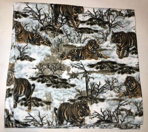 "ZooFleece  60X60"" Tigers Blanket Quilt Throw Linen Comfortable Blue Gift Birthday Tiger"