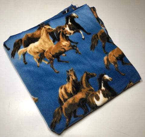 "ZooFleece Blue Horses Equestrian Animal Mare Polar Fleece  60X60"" Blanket Quilt Throw Linen"
