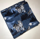 "ZooFleece 60X60"" Blanket Quilt Throw Wolves Howling Blue Moon Linen Animal"
