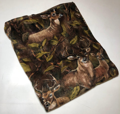 "ZooFleece Brown Deer Buck Blanket Animal Hunt Quilt Throw 60X60"" Linen Comfortable"