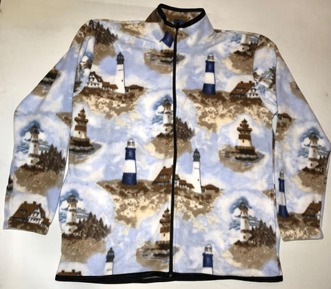 ZooFleece Lighthouse Fleece Sweater Nautical Ocean Beach Blue Ocean Jasper Art Print Gift for Her Coastal Wall Art