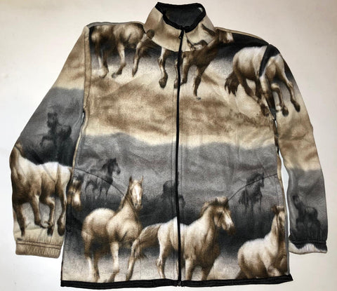 ZooFleece Horses Comfortable Equestrian Desert Polar Fleece Jacket Winter Horse Warm Mare Best Friend Gift Birthday