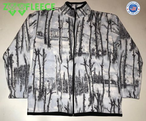 ZooFleece Fleece White Snow Tree Camouflage Jacket Winter Hunt Hunting Gift Birthday Ugly Sweater Funny Sweater Christmas xmas
