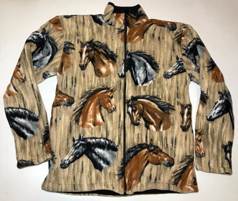 ZooFleece Equestrian Horses Stable Polar Fleece Jacket Winter Warm Best Friend Gift Birthday Ugly Sweater Funny Sweater Christmas xmas