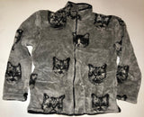 ZooFleece Grey Cats Faces Polar Fleece Jacket Best Friend Gift Birthday Ugly Sweater Funny Sweater Christmas xmas