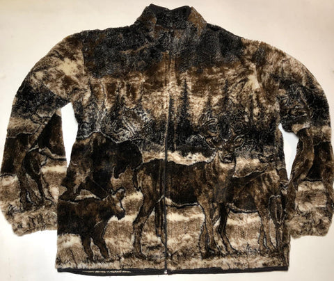 ZooFleece Men's Women's Brown Deer Buck Moose Winter Fleece Hunting Hunt Jacket Ugly Sweater Funny Sweater Christmas xmas