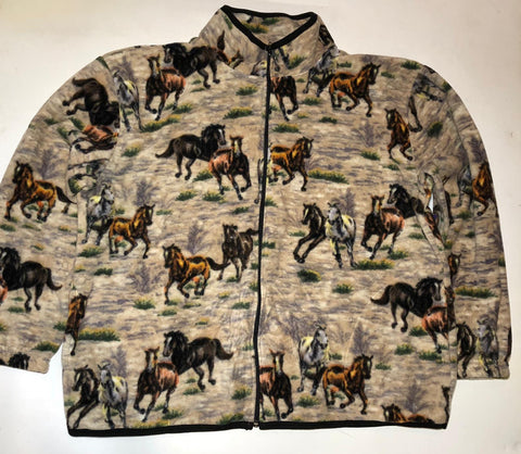 ZooFleece Comfortable Equestrian Desert Horses Fleece Jacket Winter Warm Best Friend Gift Birthday Ugly Sweater Funny Sweater Christmas xmas
