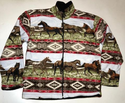 ZooFleece Comfortable Equestrian Red Aztec Horses Fleece Jacket Winter Best Friend Gift Birthday Ugly Sweater Funny Sweater Christmas xmas