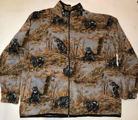 ZooFleece Black Mama Bears Baby Bear Print Fleece Jacket Gray Gift Birthday Funny Sweater Christmas Xmas