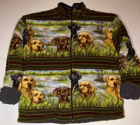 ZooFleece Women's Labrador Retriever Green Reversible Fleece Labs Dogs Jacket Gift Birthday Ugly Sweater Funny Sweater Christmas xmas