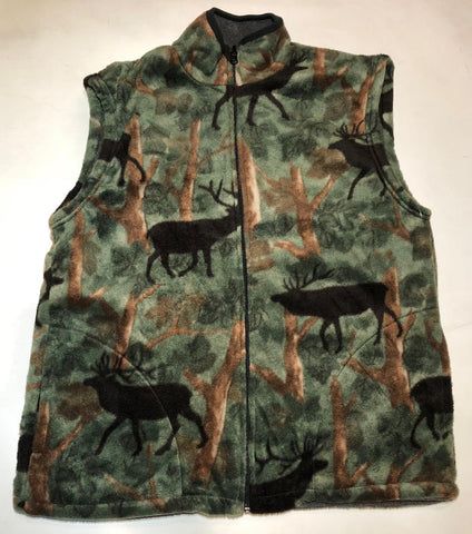 ZooFleece Green Elk Camouflage Animal Buck Antlers Hunting Vest S-3X