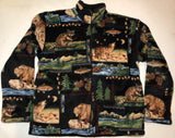 ZooFleece Black Mama Bear Fish Raccoon Wolf Print Fleece Jacket Grizzly Gift Ugly Sweater Funny Sweater Christmas xmas
