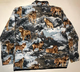 ZooFleece Mountain Wolf Fleece Jacket Winter Wolves Howling Moon Best Friend Gift Birthday Ugly Sweater Funny Sweater Christmas xmas