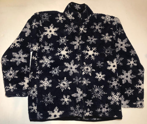 ZooFleece Blue SnowFlakes Berber Snow Fleece Jacket Winter Blizzard Ice Best Friend Gift Birthday Ugly Sweater Funny Sweater Christmas xmas