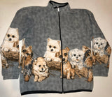 ZooFleece Comfortable Terrier Dogs Cute Puppies Gray Polar Fleece Jacket Best Friend Gift Birthday Ugly Sweater Funny Sweater Christmas xmas