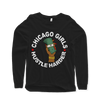 Chicago Girls Hustle Harder Long Sleeve Boyfriend Fit Tee