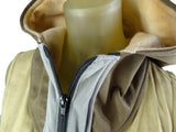 Women' handmade vest with hood / Faux Suede / Tan , Brown , Silver