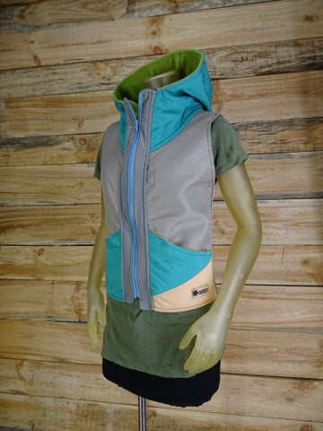 Women's handmade vest with hood / Gray , Teal , Tan