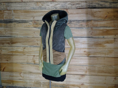 Women's handmade faux suede vest with hood