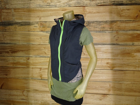 Women's hooded vest / Navy , Lime , Floral / Handmade