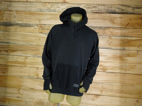 Black hoodie handmade with fleece and stash pockets