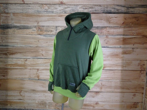 Pullover Hoodie - Unisex - Size (M) - Olive / Bright Green