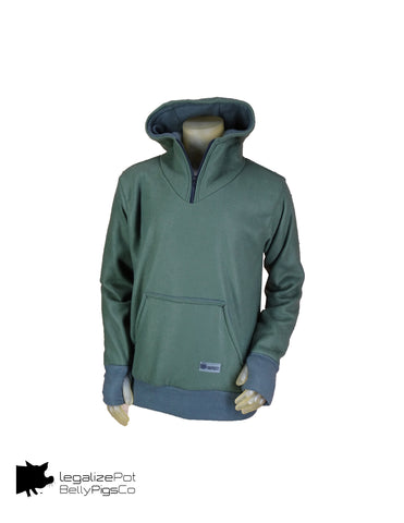 Pullover hoodie with stash pockets and thumb holes