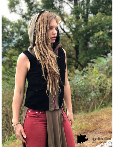Women's handmade vest with hood / Faux Suede / Black , Olive