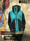 One of a kind handmade women's jacket / Teal , Black , Silver